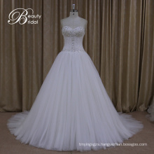 Wedding Dresses Crystal Bow Sash Lace Bridal A Line Gown